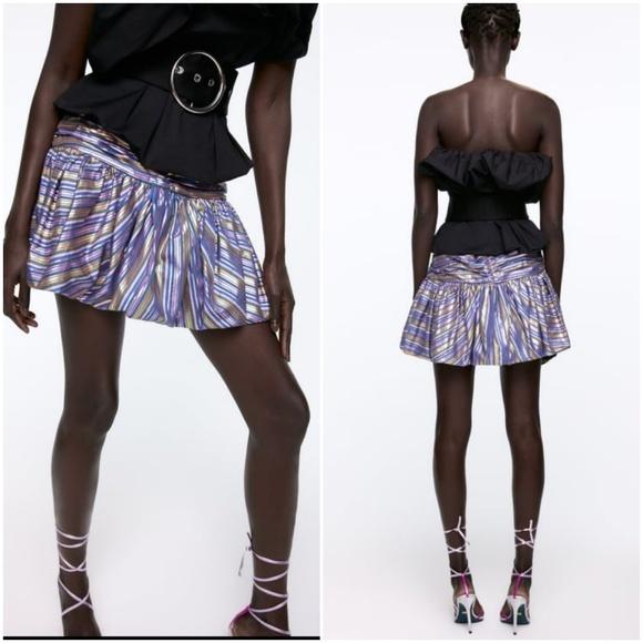 Zara Dresses & Skirts - Zara striped shiny mini skirt bloggers fave